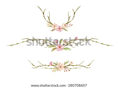 Watercolor set with floral wreaths. Tree branches with buds and flowers. Flowering branches hand drawn. - stock photo