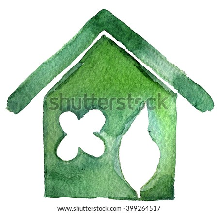 watercolor sketch: Eco-house on a white background - stock photo