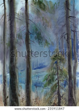 Watercolor sketch: Edge in the backwoods - stock photo