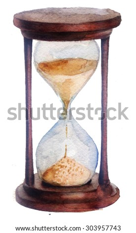 watercolor sketch: hourglass on a white background - stock photo