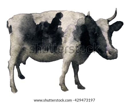 watercolor sketch of cow on a white background - stock photo