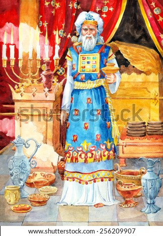 "Watercolor sketch of series ""Characters of Palestine"". Jewry historic figure holy Aaron. Archpriest of Israel with blood of sin sacrifice offer in golden bowl and smoke incense censer for thanksgiving - stock photo"