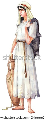 "Watercolor sketch series ""Characters of Palestine"". Jewry historic figure dressed in sackcloth female. Sad tired maidservant with leather fur for wine and water clay pot isolated on white background - stock photo"
