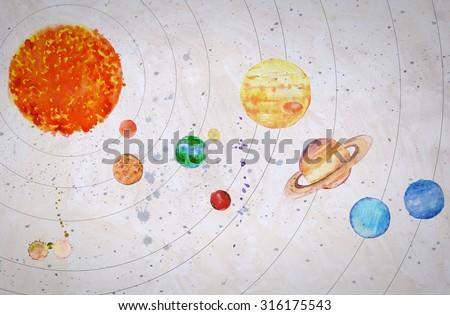 Watercolor Solar system. Sun and planets (Mercury, Venus, Earth, Mars, Jupiter, Saturn, Uranus, Neptune) on textured grey background. - stock photo