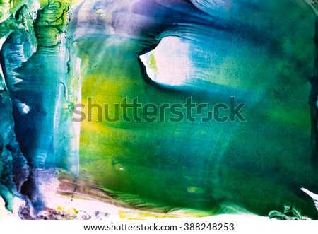 Watercolor splash. Abstract watercolor. Hand drawn watercolor shape background. Isolated on white background. Hand drawn water ink illustration. Bright blue, green violet and yellow color. - stock photo