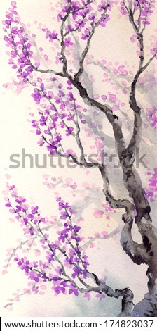 Watercolor spring background in Japanese style. Purple flowers and buds on the branches of an old tree  - stock photo