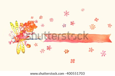 Watercolor spring cartoon banner for greeting card, invitation, message - stock photo