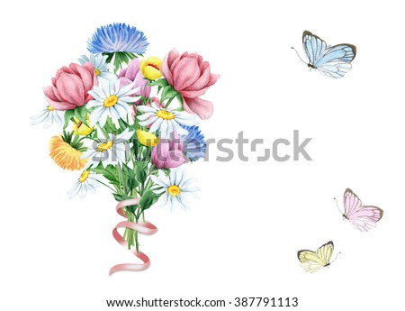 Watercolor spring floral bouquet with butterflies - stock photo