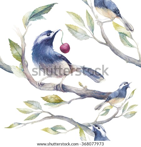 Watercolor spring seamless pattern with birds, tree branches and cherry. Hand painted botanical wallpaper template: birds sitting on branches with leaves on white background. Vintage texture - stock photo