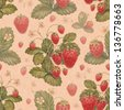 Watercolor strawberry bush. Seamless pattern - stock photo