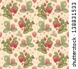 Watercolor strawberry pattern - stock photo