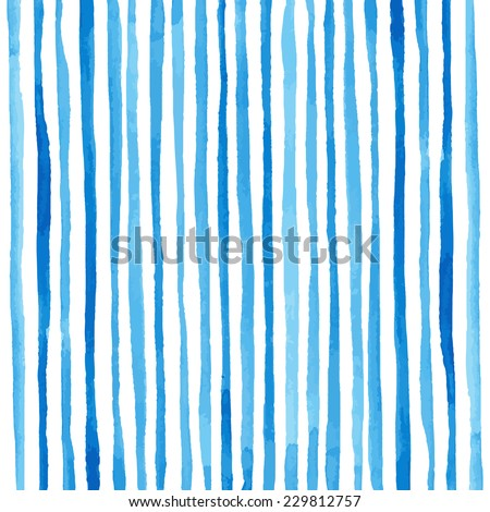Watercolor stripes pattern. Drawing by hand - stock photo