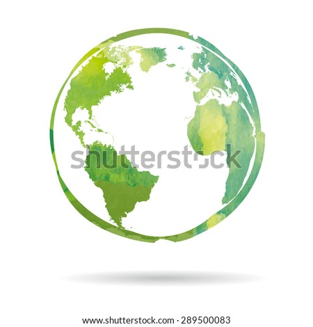 Watercolor style Earth icon isolated on white background - stock photo