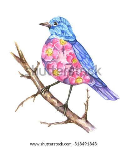Watercolor stylized bird with flowers; cute abstract bright bird with dog-rose and leaves on white background - stock photo
