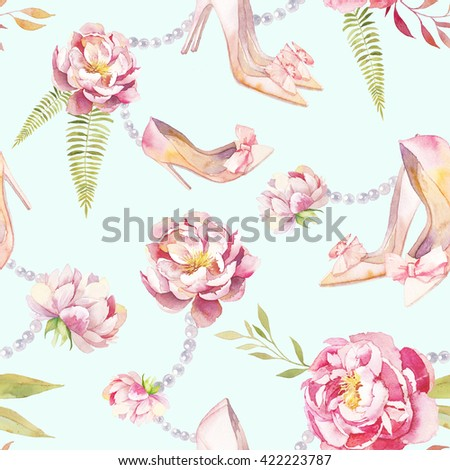 Watercolor summer garden pattern. Seamless texture with hand painted shoes, peonies, pearl necklace, green leaves and branches on turquiose light background. Vintage wallpaper design - stock photo