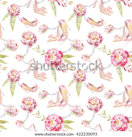 Watercolor summer garden pattern. Seamless texture with hand painted shoes, peonies, pearl necklace, green leaves, fern and branches on white background. Wedding wallpaper - stock photo