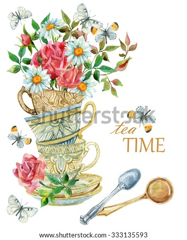Watercolor tea cups background with spoon, flowers and butterfly. Tea crockery in victorian style. Hand painted  illustration for your design - stock photo