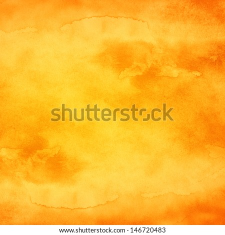 Watercolor texture background. Yellow orange abstract aquarelle backdrop pictured. Paintbrush hand made technique. Image of square format  - stock photo