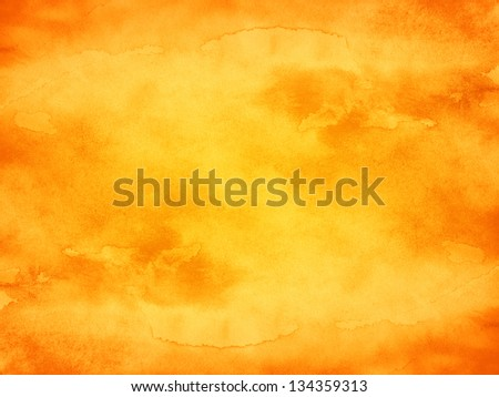 Watercolor texture orange background. Abstract aquarelle backdrop pictured. Image of horizontal format. Paintbrush hand made technique. - stock photo