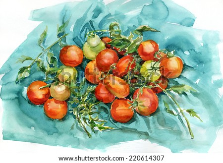 Watercolor tomatoes. Tomatoes on a piece of turquoise fabric. Watercolor painting, still life.  - stock photo