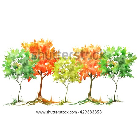 Watercolor trees silhouette, group of trees - stock photo