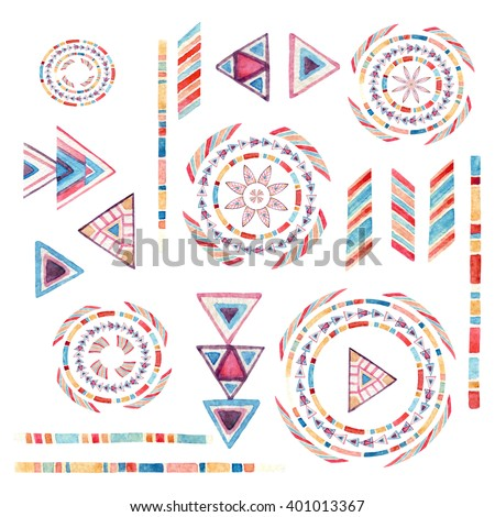 Watercolor tribal elements set for ethnic design. Hand painted aztec illustration. Tribal ornament components isolated on white background in natural colors - stock photo