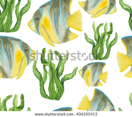Watercolor Tropical Fish And Seaweed Repeat Pattern - stock photo