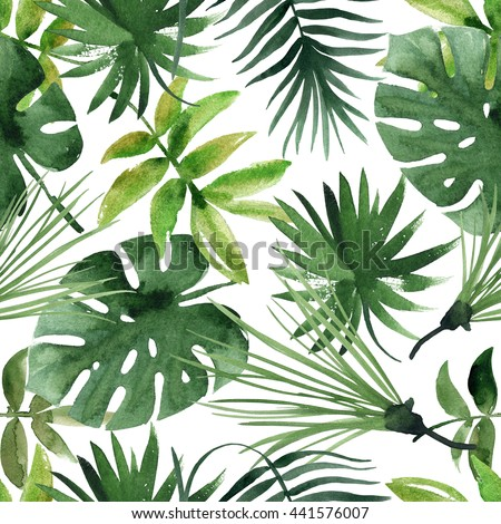 Watercolor tropical leaves seamless pattern - stock photo