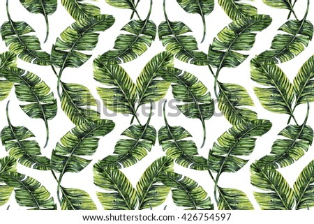 Watercolor tropical palm leaves seamless floral pattern background - stock photo