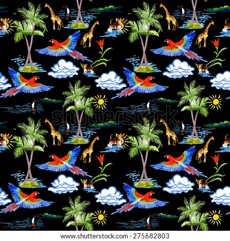 Watercolor Tropical parrots, palm, clouds, boat, sailboat, dog, crocodile and giraffes exotic seamless pattern on black background - stock photo