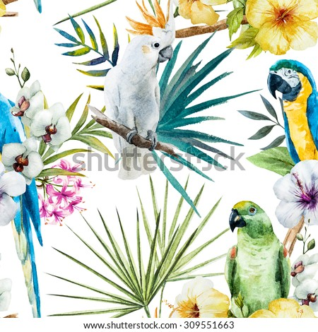 watercolor tropical pattern with parrots and hibiscus, orchids, cockatoos. Exotic vibrant wallpaper,seamless fashionable graphical free hand drawing hibiscus flowers - stock photo