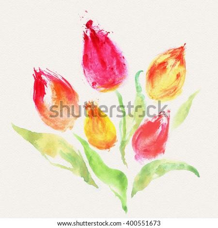 Watercolor tulip bouquet - stock photo