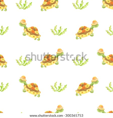 watercolor turtle and plants seamless pattern on white background - stock photo