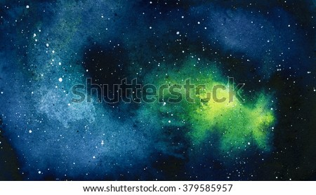 Watercolor universe filled with stars, nebula and galaxy. Watercolor abstract background of universe bodies - stock photo