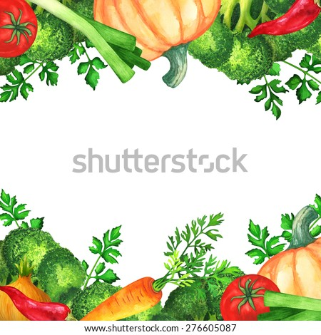 Watercolor vegetables, green leaves, mix. Red hot chili pepper ...