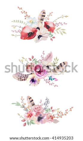 Watercolor vintage floral bouquet. Boho spring flowers and leaf  frame isolated on white background: succulent, branches, leaves, feathers, berries, peony, rose. Hand painted natural design - stock photo