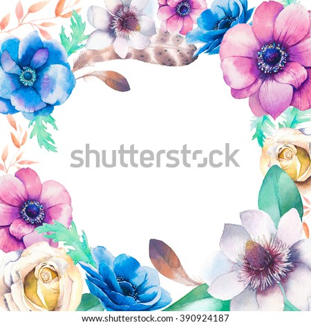 Watercolor vintage floral frame. Greeting card background with flowers, bird feathers, branches, leaves: anemone, rose, magnolia isolated on white background. Artistic natural design - stock photo