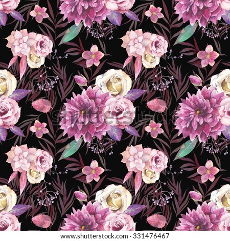 Watercolor vintage floral pattern. Seamless texture with purple and pink bouquet with succulent, branches, palm tree leaves, berries, flowers: rose, dahlia,hellebore on dark background. Natural print - stock photo