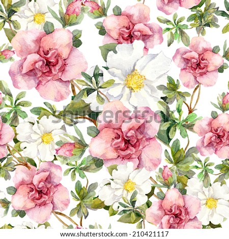 Watercolor vintage flowers. Seamless floral pattern. Retro design - stock photo