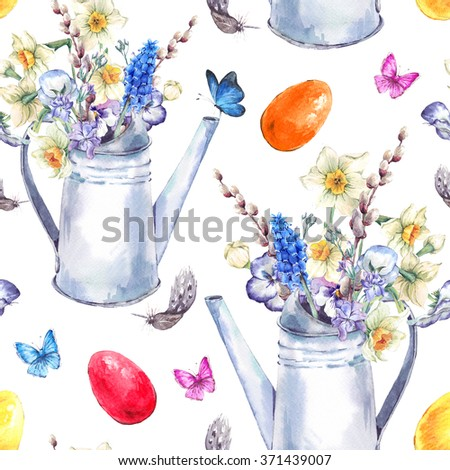 Watercolor vintage Happy Easter seamless pattern with garden bouquet,  white iron watering cane, easter eggs, chickens, flowers and butterflies, spring watercolor illustrations on a white background. - stock photo