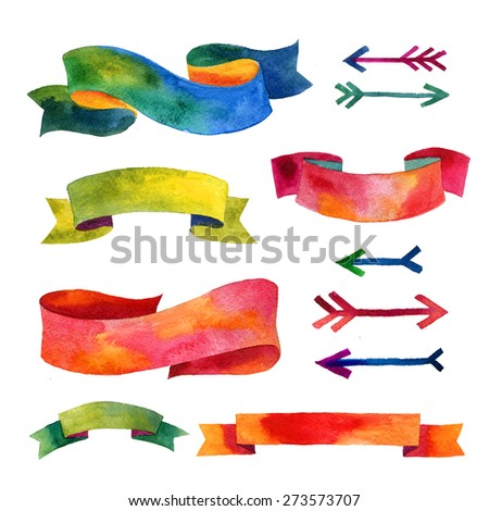 Watercolor vintage ribbons and arrows set. Hand drawn isolated objects for romantic design. Set of vintage watercolor ribbons. Ribbons and banners for text  - stock photo