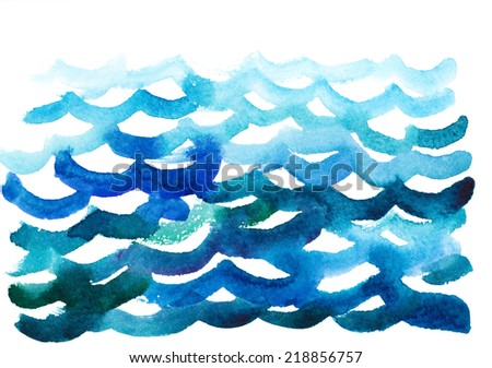 watercolor waves - stock photo