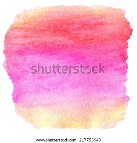 Watercolor Wet Background. Purple Pink Yellow Orange Wet Watercolor Background. Watercolor top abstract frame background. - stock photo