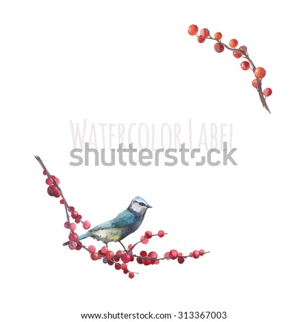 Watercolor wild berries and bird logo. Hand drawn floral frame text with natural elements: autumn berries, leaves, branches and single bird. Raster vintage label design isolated on white background - stock photo