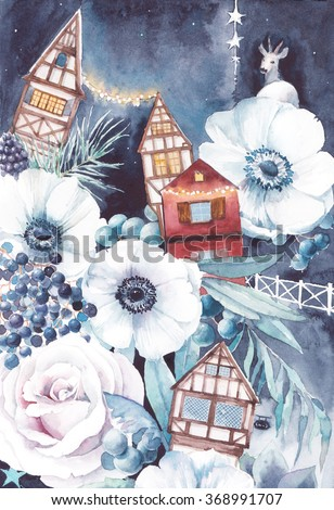 Watercolor winter fairytale illustration. Hand painted bouquet with old houses, deer, anemone flowers, party lights garlands, berries, roses, stars and leaves. Vintage night party fantasy artwork  - stock photo