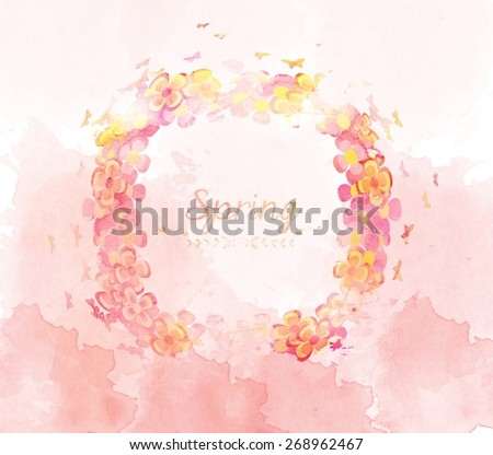 watercolor with flower and butterflies frame - stock photo