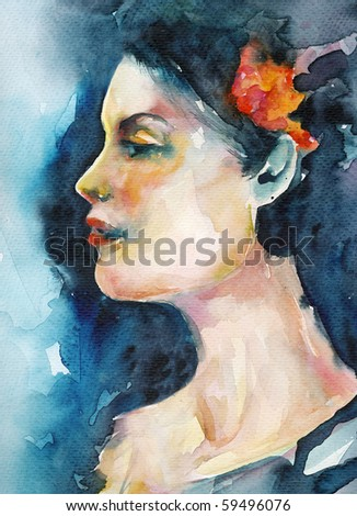 Watercolor woman portrait - stock photo