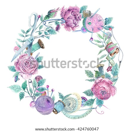 Watercolor wreath of objects for sewing, handicraft. Sewing tools and sewing kit,sewing equipment, needle, sewing pin and beautiful flowers - stock photo
