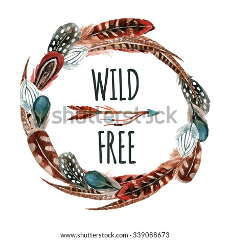 Watercolor wreath with bird feathers and arrow  isolated on white background. Wild and free design. Hand painted elements in trendy  boho style. - stock photo