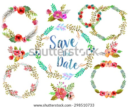 Watercolor wreathes with leaves and flowers, possible to for wedding invitation. - stock photo